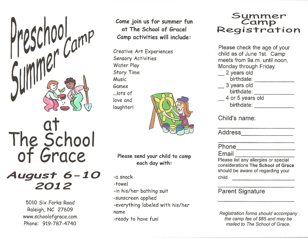 Raleigh Summer Camp Registration Form The School Of Grace